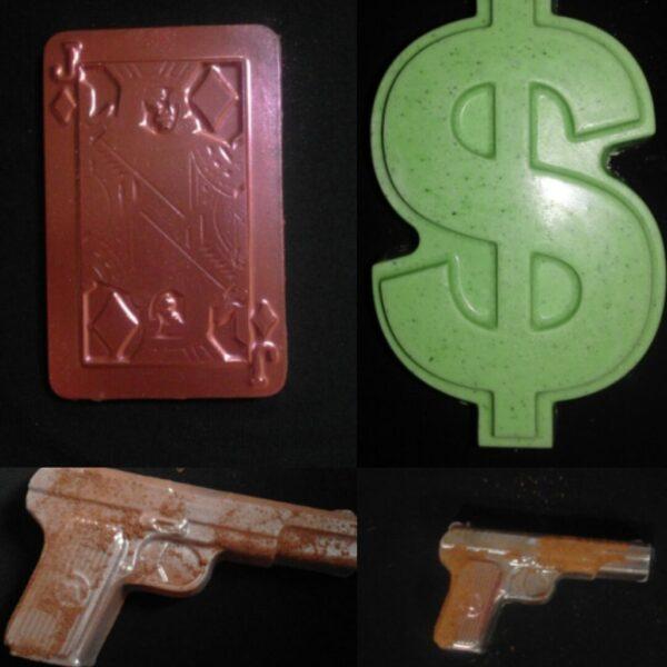 Шоколад ручной работы. Набор Деньги, карты,два ствола