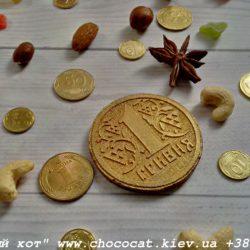 Шоколад ручной работы. Шоколадная монета гривна