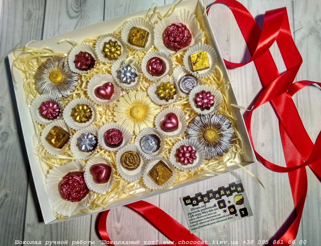 Цветы из шоколада. Сердечки из шоколада