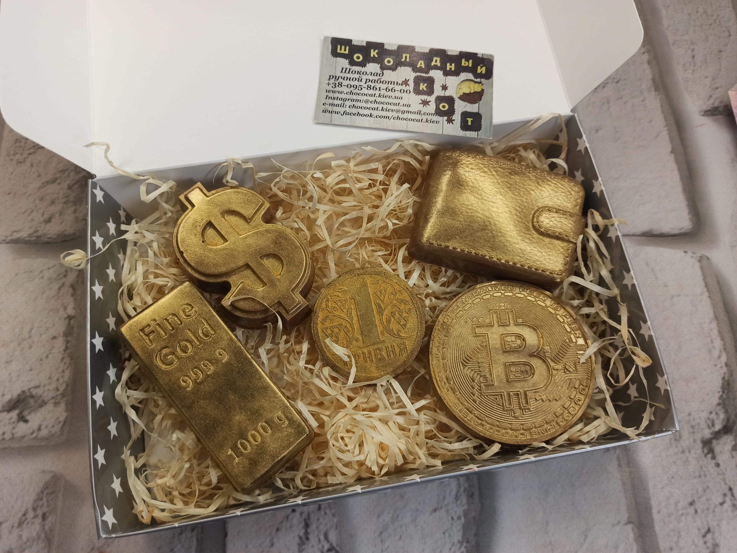 Шоколадный кошелек, доллар, биткоин
